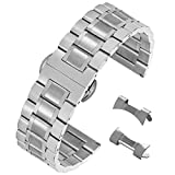20mm Durable Solid Stainless Steel Band Watch Bracelet with Easy Release Deployment Buckle in Silver
