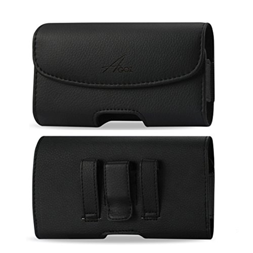 Agoz Carrying Case for Jitterbug Smart, Jitterbug SMART2, Premium Leather Pouch Case Holster with Belt Clip & Belt Loops (6 x 3.1 inch)