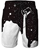 TUONROAD Mens Crazy Bathing Suits Swimwear Funny Patterned Black Galaxy Stars White Graffiti Paint Pigment Swim Trunks Brazilian Swim Shorts with Pockets Knee Length Beach Shorts for Youth Adult