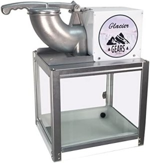 Glacier Gears Professional 1/3 HP motor Snow Cone Machine Sno Cone Maker + Scoop and ice scoop with tempered glass and steel construction that is made in USA.