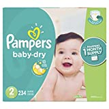 Diapers Size 2, 234 Count - Pampers Baby Dry Disposable Baby Diapers, ONE MONTH SUPPLY (Packaging May Vary)