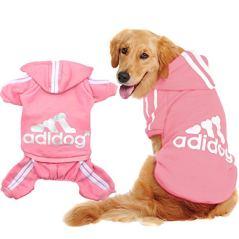 Scheppend-Original-Adidog-Big-Dog-Large-Clothes-Sport-Hoodies-Sweatshirt-Pet-Winter-Coat-Retriever-Outfits-Pink-XXXX-Large