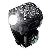 Rechargeable 350 Lumens Led Torch Wrist Light, Waterproof Watch Flashlight with Compass Tactical Flashlights for Outdoor Running, Hiking, Camping, Biking, Mountain Climbing for Birthday Gift