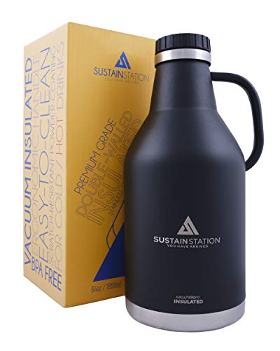 Sustain Station Growlers for Beer with Handle, 64 oz, Half Gallon Water Bottle, Vacuum Insulated Water Bottle, Large Water Bottle, Black, Easy-Carry & Sweat-Proof, Keeps Drinks Ice Cold or Hot Longer