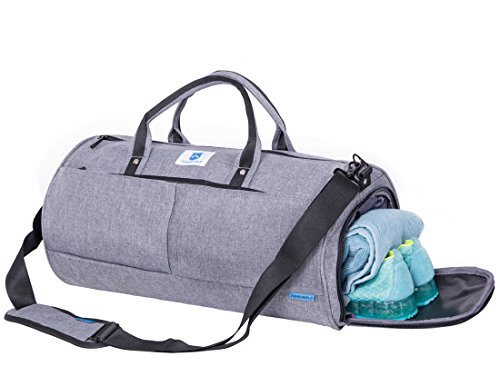 NORDSHIELD Gym Duffle Bag Travel Weekender Carry On Luggage with Shoe Compartment (Gray)