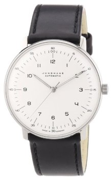 Junghans Max Bill Automatic Mens Watch - 38mm Analog White Face Classic Watch with Luminous Hands - Stainless Steel Black Leather Band Luxury Watch for Men Made in Germany 027/3500.00