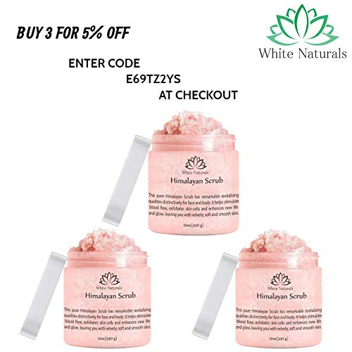 Pure Himalayan Pink Salt Body Scrub Wash With Exfoliate For Soft, Healthy Skin, Massaging For Sore Muscles & Skin Imperfection 12 oz 5
