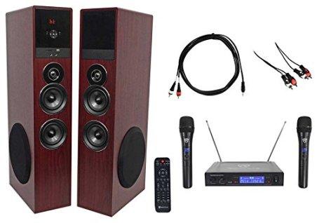 Rockville-Bluetooth-Home-TheaterKaraoke-Machine-System-w2-SubsWireless-Mics