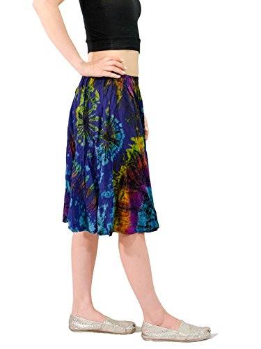 Orient-Trail-Womens-Island-Cruise-Tie-Dye-Knee-Length-Skirt-US-Size-4-14