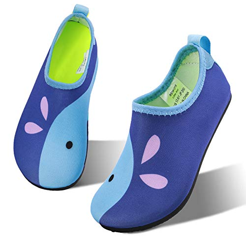 hiitave Kids Water Shoes Non-Slip Quick Dry Barefoot Beach Aqua Swim Pool Socks for Boys & Girls Toddler Navy/Whale 12-13 M US Little Kid