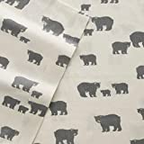 Eddie Bauer Bear Family Twin Flannel Sheet Set, Gray