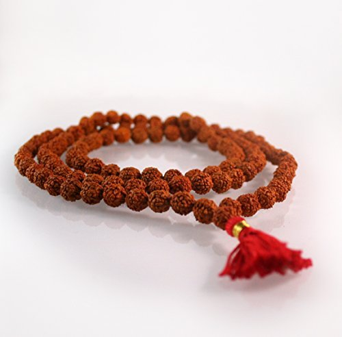 108 Buddhist Mala Beads - Meditation Prayer Necklace/Bracelet (Rudraksha, 8 MM)