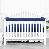 TILLYOU 3-Piece Padded Baby Crib Rail Cover Protector Set from Chewing, Safe Teething Guard Wrap for Standard Cribs, 100% Silky Soft Microfiber Polyester, Fits Side and Front Rails, Navy