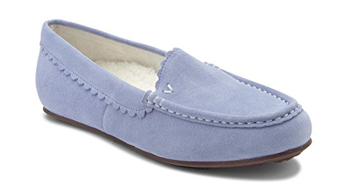 Vionic Women's Haven McKenzie Slipper - Ladies Moccasin with Concealed Orthotic Arch Support Light Blue 8.5 Medium Medium US