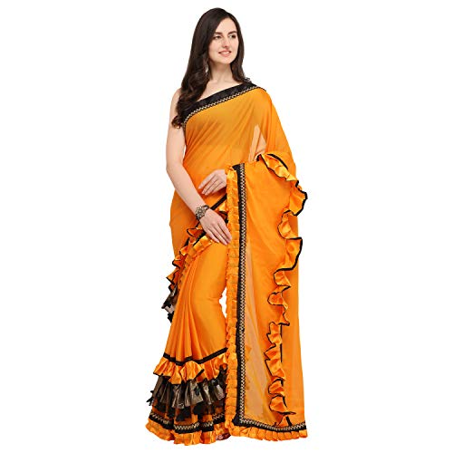 Womanista Women's crepe with blouse piece 7510 Sarees (FS9808_ Mustard_ Onesize)