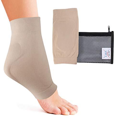 CRS Cross Achilles Heel Sleeve - Padded compression gel sleeve/sock for cushion & protection of Haglunds bump, tendonitis, and bursitis (2 sleeves with bag)