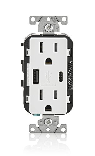 Leviton T5633-W 15-Amp Type-C USB Charger/Tamper Resistant Receptacle, 1-pack, White