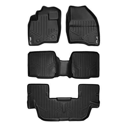 MAX LINER A0245/B0109/C0082 Custom Fit Floor Mats 3 Liner Set Black for 2017-2019 Ford Explorer with 2nd Row Center Console