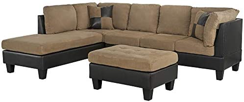 Casa AndreaMilano 3-Piece Microfiber and Faux Leather Sofa and Ottoman Set, 102″ W, Mocha