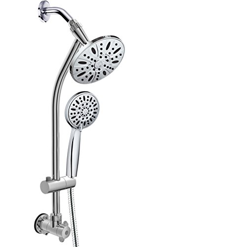 Chrome Finish 28'' Drill-Free Stainless Steel Slide Bar Combo with 7'' Rain Showerhead, 6-setting Hand Shower and Revolutionary Low-Reach 3-way Diverter For Easy Reach. Dual Shower Head Spa System.
