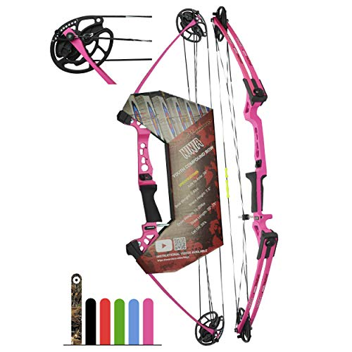 Southwest Archery Ninja Kids Youth Compound Bow Kit - Fully Adjustable 20-29' Draw 10-20LB Pull - 55% Let Off - Pre-Installed Arrow Rest - Finger Saver String - RH, Pink