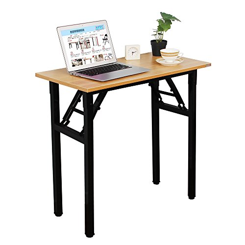 Need Small Desk 31 1/2' Width Folding Desk No Assembly Required. Sturdy and Heavy Duty Desk for Small Space and Laptop Desk Damage Free Deliver(Teak Color Desktop & Black Steel Frame) AC5BB-E1(8040)