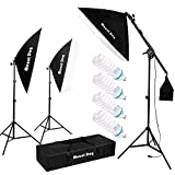 MOUNTDOG 1350W Photography Studio Softbox Lighting Kit with 4 x 5500K Bulbs Arm Holder Photo Video Continuous Soft Box Lighting Set for YouTube Filming Portrait Shooting