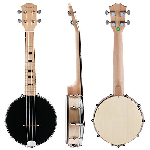 Kmise Concert Banjos Uke 23 Inch Maple Wood 4 String Black Banjo Ukulele