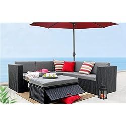 Baner Garden (K35) 4 Pieces Outdoor Furniture Complete Patio Wicker Rattan Garden Corner Sofa Couch Set, Full, Black
