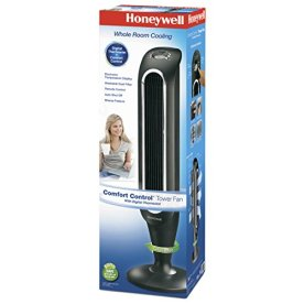 Honeywell-Fresh-Breeze-Tower-Fan-with-Remote-Control-HYF048-Black-With-Programmable-Thermostat-Timer-Shut-Off-Function-Dust-Filter