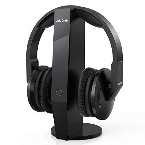 Wireless Optical TV Headphones, Jelly Comb Over-Ear 2.4GHz Wireless TV Headphones with Transmitter, Charging Dock, Support Optical, 3.5mm, RCA Audio Out Port (Black)