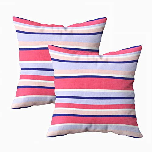 ROOLAYS Art Pillow Case, Square Throw Pillowcase Covers 18X18Inch Trendy Stripe Asymmetrical Color Blocks Orange Pink Pale Blue Navy Pattern Summer Autumn Fashion Both Sides Farmhouse Decor Cushion