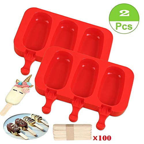 SAKOLLA Homemade Popsicle Silicone Molds with Lid, BPA Free Ice Cream Bar Mold, 3 Cavities Silicone Ice Pop Mold with 100 Wooden Sticks, Set of 2 (Oval)