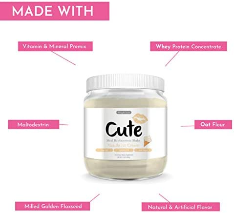 Cute Nutrition Vanilla Ice Cream Meal Replacement Shakes for Weight Loss Control & Energy for Women High Protein Low Calorie Low Sugar 17.63oz tub 6