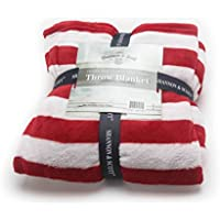 Shannon & Scott All Season Oversized Double Printed Ultra Soft Velvet Micro Plush Luxury Throw Blanket, Stars and Stripes, Red