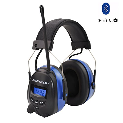 PROTEAR Wireless Bluetooth Hearing Protection,AM/FM Noise Reduction NRR 25dB Headphones Rechargeable Lithium Battery,Ear Protector for Mowing Lawn