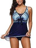 Swimsuits for Women Bathing Suits Swimdress Sporty One Piece Plus Size Boyshort Swimsuit Halter Swimming Blue Swim dress 2X-Large (fits like US 16-18) 2XL