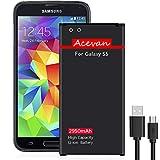 Galaxy S5 Battery Acevan 2950mAh Li-ion Battery Replacement for Samsung Galaxy S5, Verizon G900V, Sprint G900P, T-Mobile G900T, AT&T G900A, G900F, G900H, G900R4, I9600 [3 Year Warranty]