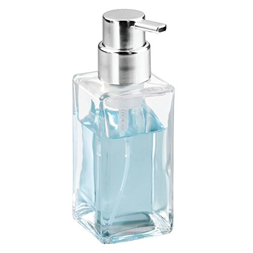 InterDesign Casilla Glass Foaming Soap Dispenser Pump for Kitchen, Bathroom Countertop and Vanities - Clear/Chrome