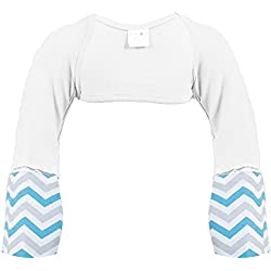 ScratchMeNot Flip Mitten Sleeves, Sensitive - Organic Cotton Baby Boys' Stay On Scratch Mitts - White Chevron, 6M