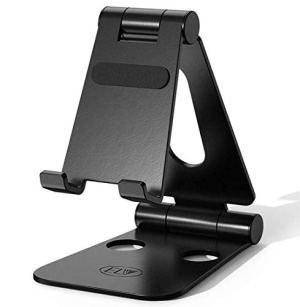 ELV Aluminum Adjustable Mobile Phone Foldable Holder Stand Dock Mount for All Smartphones, Tabs, Kindle, iPad (Black)