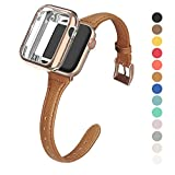 MARGE PLUS Compatible Apple Watch Band with Case 38mm 40mm Women, Slim Genuine Leather Watch Strap with Soft TPU Protective Case Replacement for iWatch Series 5 4 3 2 1, Brown