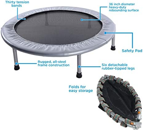 Stamina 36-Inch Folding Trampoline | Quiet and Safe Bounce | Access To Free Online Workouts Included | Supports Up To 250 Pounds 7