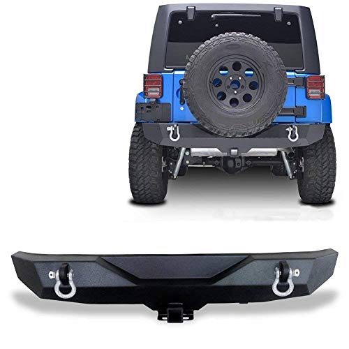AUTOSAVER88 07-18 Jeep Wrangler JK Rock Crawler Rear Bumper with D-Ring & 2