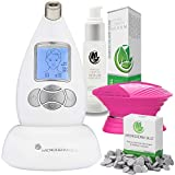 Microderm GLO Advanced Skincare Bundle Includes Diamond Microdermabrasion System, 10mm Filters 100 pack, Peptide Complex Serum, Sonic Facial Cleansing Brush. Perfect Anti Aging Treatment Kit (White)