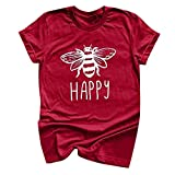 Answerl Happy Graphic Tee Shirt for Women Teen Girls Short Sleeve Letter Print Graphic Tee Shirt Top Funny Blouse Red