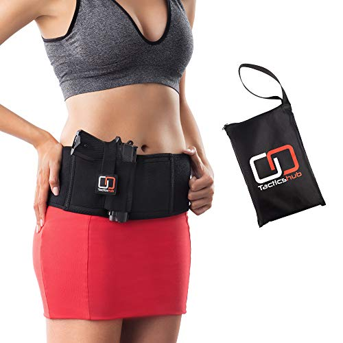 Tacticshub Belly Band Holster for Concealed Carry - Gun Holster for Women and Men That fits Glock, Smith Wesson, Taurus, Ruger, and More - Waistband Holster for Pistols and Revolvers