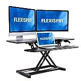 FLEXISPOT Stand Up Desk Converter - 42' Wide Platform Standing Desk Computer Riser with Deep Keyboard Tray for Laptop (42', Black, M7L)