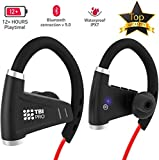 12+Hours Sport Bluetooth Headphones - Professional Wireless Sport Earphones w/Mic - IPX7 Waterproof Deep Bass Music in-Ear Earbuds for Gym, Exercise, Running Workout for Men, Women