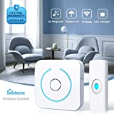holahome Wireless Doorbell Door Bell Push Button and Battery Operated Receiver Portable Waterproof Remote Control Home Security Ringer Chime Kit with Long Range 32 Ringtones for Home Classroom White
